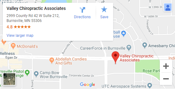 Map of Burnsville MN Chiropractors